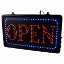 Open-skilt med EU LED lys. Kan hænge i kæde