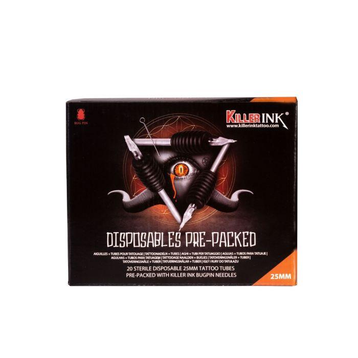 Blandet pakke med 20 stk. Killer Ink engangsgreb / Tip 25mm tubes færdigpakket med Bug Pin 0.25 mm nåle