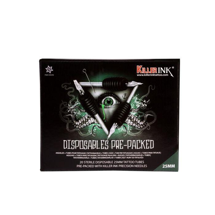 Blandet pakke med 20 stk. Killer Ink engangsgreb / Tip 25mm tubes færdigpakket med Killer Ink Precision 0.35 mm nåle