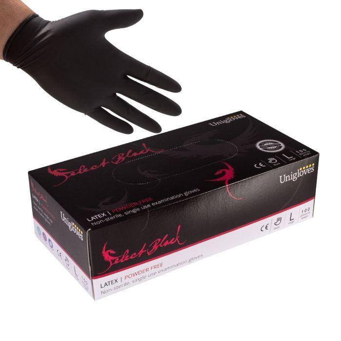 Pakke med 100 stk. Unigloves Select Sort, engangslatexhandsker. Powder-free
